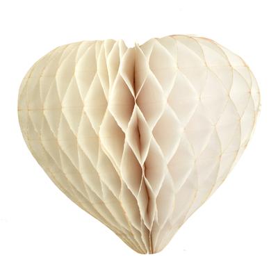 Coeur en papier alvéole ivoire