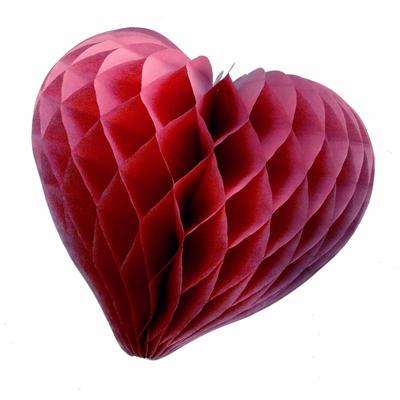 coeur en papier alvéolé bordeaux
