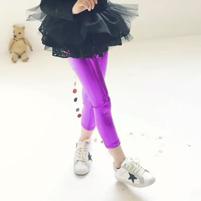 Legging métallisé enfant violet