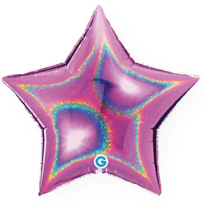 Ballon holographique étoile fuchsia en aluminium