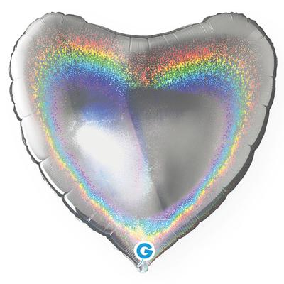 Ballon holographique coeur argent en aluminium