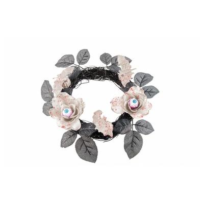 Couronne noire fleurs ensanglantée