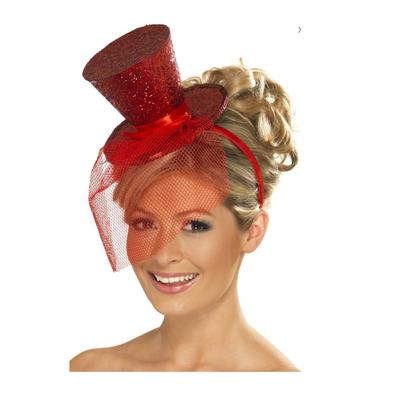 Serre tête avec mini haut de forme à paillettes rouges