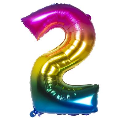 Ballon geant mylar rainbow chiffre 2