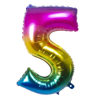 Ballon geant mylar rainbow chiffre 5