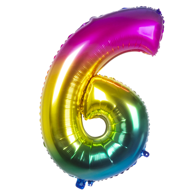 Ballon geant mylar rainbow chiffre 6