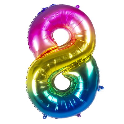 Ballon geant mylar rainbow chiffre 8