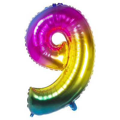 Ballon geant mylar rainbow chiffre 9