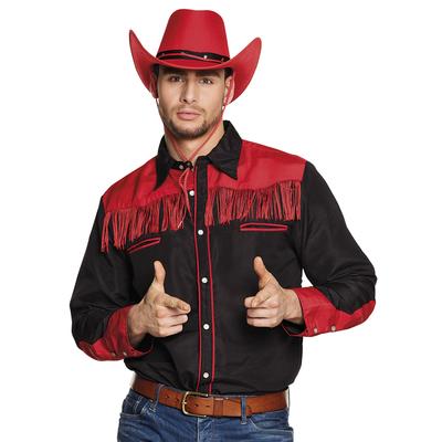 Chemise western rouge et noire