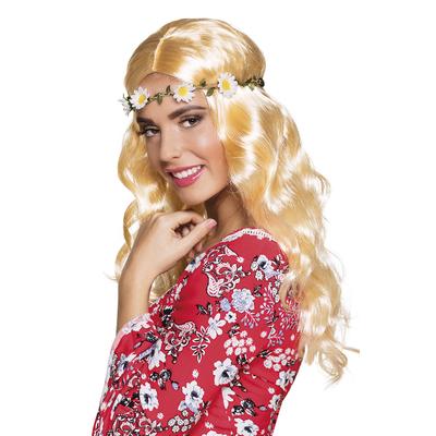 Perruque hippie blonde avec bandeau de fleurs