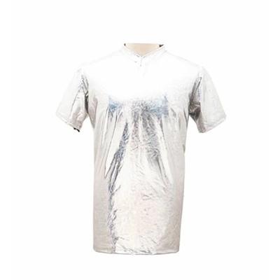 Tee shirt homme métallisé laser argent