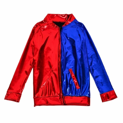 Blouson bombers enfant métallisé rouge et bleu harley Quinn