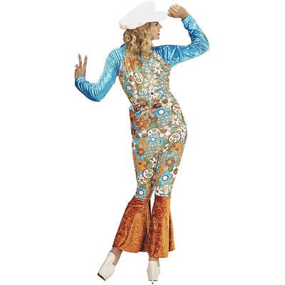 Déguisement hippie femme bleu à fleurs