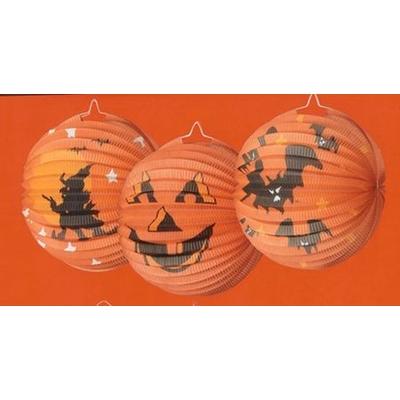 Lampion Rond Imprimé Halloween Orange
