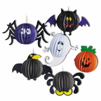 2 Lampions Halloween 30 Cm araignée corbeau