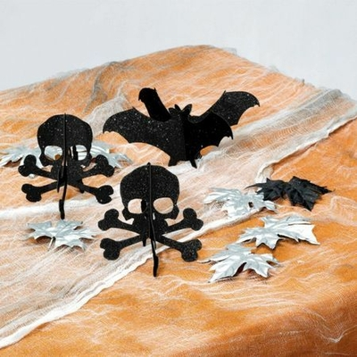 3 Minis Centres de Table Halloween Pailletés Noirs