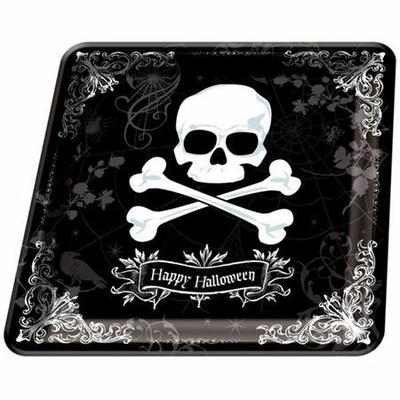 Pack de 18 Assiettes Carrées Pirates Ou Halloween