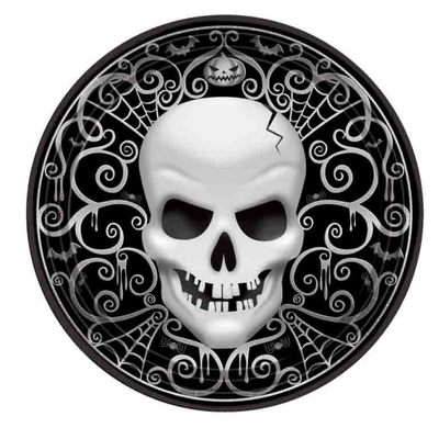 Assiettes tête de mort Halloween 18 CM