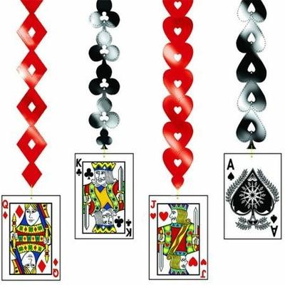 4 Décorations à Suspendre Thème Casino