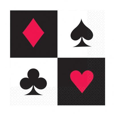 16 serviettes jetables thème Casino