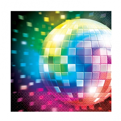 16 Serviettes thème Disco