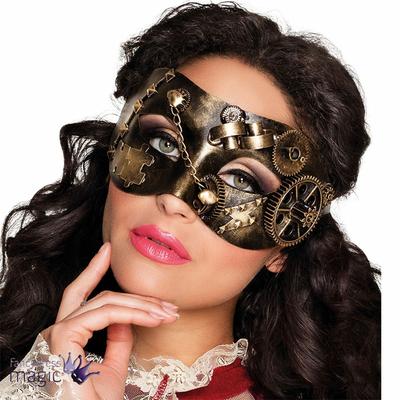 Masque steampunk vieil or