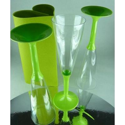 10 Flutes à Champagne Jetables Vert Anis