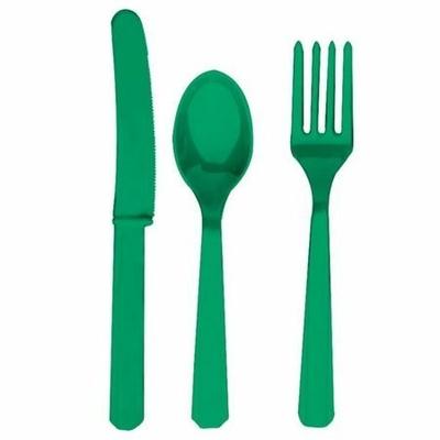 24 Couverts Jetables En Plastique Verts