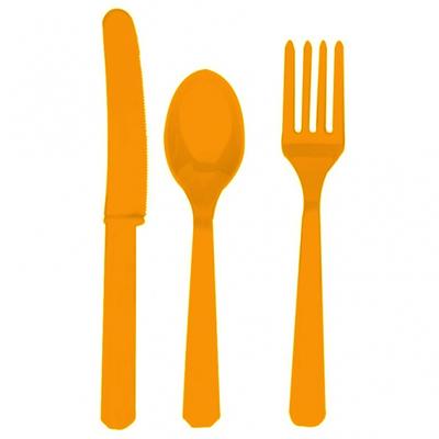 24 Couverts En Plastique Jetable Oranges