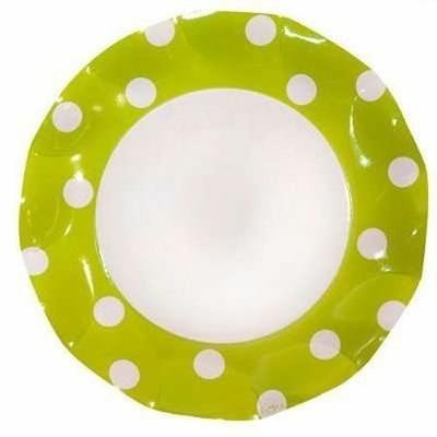 Assiettes Vert Anis 27 Cm à Pois Blanc