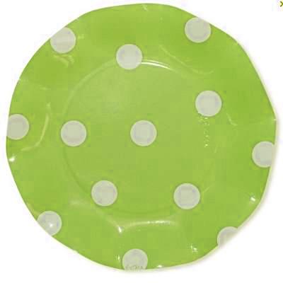Assiettes jetables vert anis à pois 21 cm