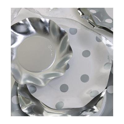 Assiettes jetables argent à pois 21 cm