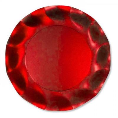 Assiettes jetables métallisées rouges 21 cm