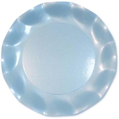 10 Assiettes Jetables Bleues Perlées 27Cm