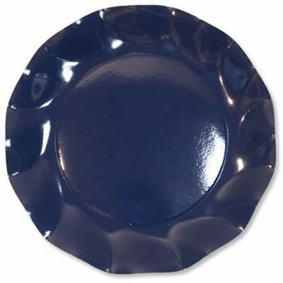 10 Assiettes Jetables Bleu Marine 27Cm