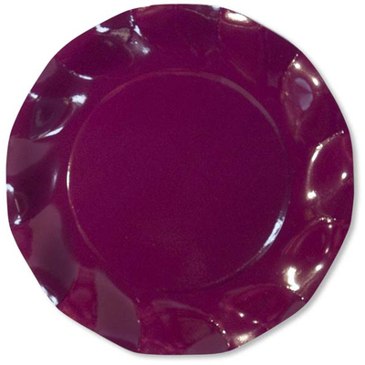 10 Assiettes Jetables 21 Cm Bordeaux
