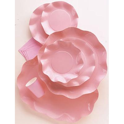 10 Coupelles Jetables 18.5Cm Roses Perlées