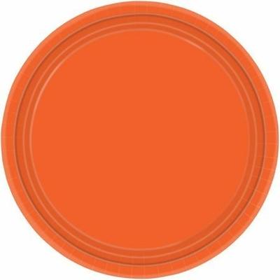 8 Assiettes Jetables Oranges 23 Cm