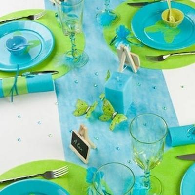 Chemin de Table En In-tissé Turquoise