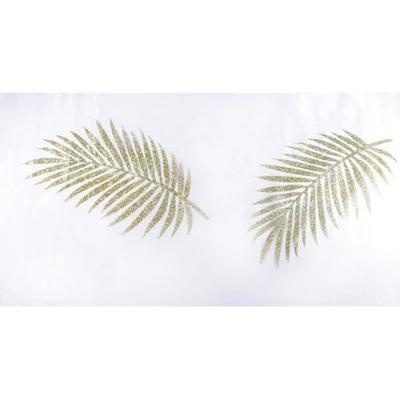 Chemin de table organdi blanc avec palmes or
