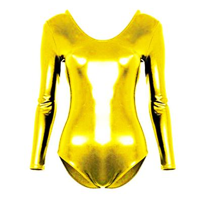 Justaucorps enfant lycra métallisé doré