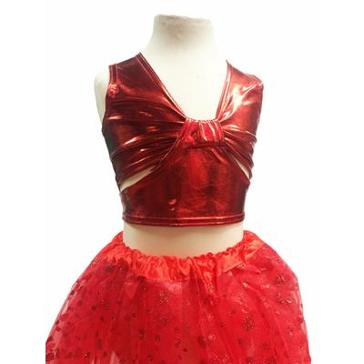 Brassiere de danse enfant métallisée rouge