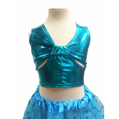 Brassiere de danse enfant métallisée turquoise