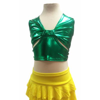 Brassiere de danse enfant métallisée vert brésil