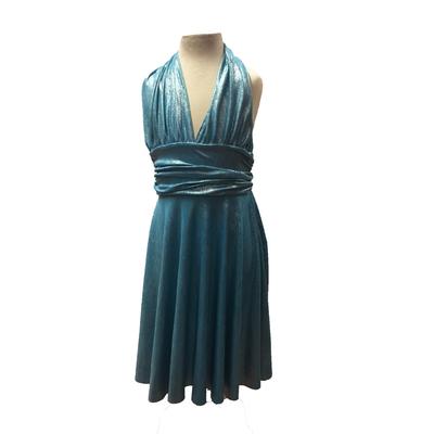 Robe de danse Marilyn enfant lurex turquoise