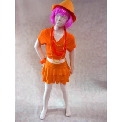 Jupe de danse enfant à volants orange