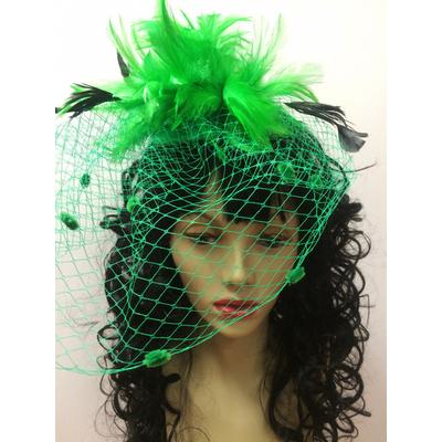 Bibi plumes et voilette vert