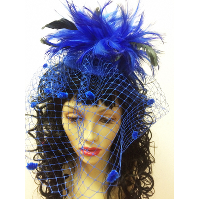 Bibi plumes et voilette bleu roy