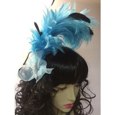 Serre tête cabaret plumes bleues