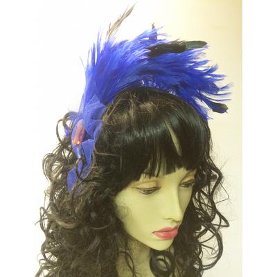 Serre tête cabaret plumes bleu royal